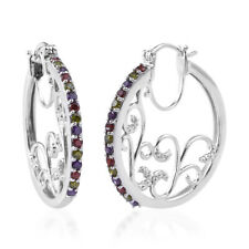Multi Color Cubic Zirconia Cz Hoops Hoop Earrings for Women Jewelry Ct 3.5