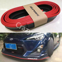 Red Black Rubber Front Bumper Edge Strip Chin Protection Side Skirts Spoiler Lip