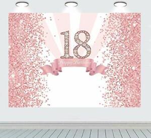 RUINI Pink Glitter Sequin Spots Diamond 18th Happy Birthday Background Starry