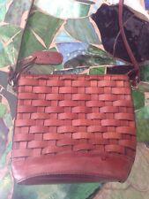 Etienne Aigner Cognac Brown Woven Leather Shoulder Bag CrossBody & Purse Fob