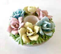 Floral Ceramic Candle Holder, Norcrest, Japan, White w Pastel Flowers, Vintage