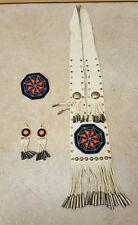 NICE MATCHING 4 PIECE HAND CRAFTED CUT BEADED NATIVE AMERICAN INDIAN DANCE SET!