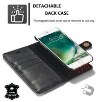 Black Magnetic Flip Wallet Genuine Leather Detachable Case For iPhone 8 7 6 Plus