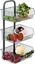 Brand New 3 Tier Vegetable Stand For Multi Purpose Use 3 compartments Fast UK