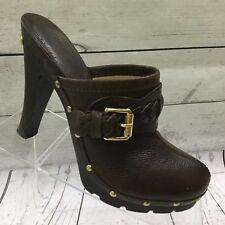 Michael Kors Brown Leather Heels Size 5.5 Split Toe Brazil