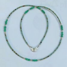 Afghan Natural Turquoise & Malachite Tiny Seed Beads Necklace Handmade Vintage
