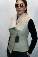 NEW Light Beige Women 100% GENUINE SHEEPSKIN SHEARLING LEATHER Vest Jacket XS-XL