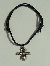 I LOVE SOFTBALL EMBLEM BLACK ROPE BRACELET- ANTIQUE SILVER CHARM-SPORTS-BALL
