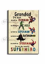 GRANDAD SIGN,GRANDAD Superhero Father`s day Gift, Batman,Hulk, Wooden Plaque