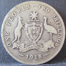 1918 M Australia 2s Two Shillings One Florin ** ERROR ROTATED DIE ** #RB12195