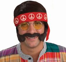 MENS HIPPY HIPPIE WIG LENNON GLASSES TASH PEACE HEADBAND & SIDEBURNS BEATLES