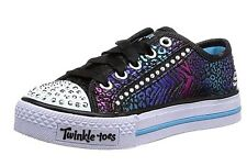 New Girls Skechers Light Up Twinkle Toes Shuffles Glam Sneakers Trainers UK10.5
