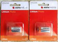 2 pilas Agfa Lithium CR123A 3V caducidad 06/2020