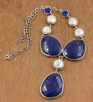 Solid 925 Sterling Silver Jewelry Lapis Lazuli Pearl Gemstone Handmade Necklace