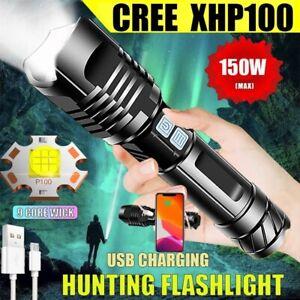 CREE XHP100/XHP90.2 LED Flashlight 26650 USB Torch Lantern Hunting Lamp