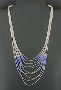 Purple Beads Liquid Silver 10 Strand 925 Sterling NECKLACE