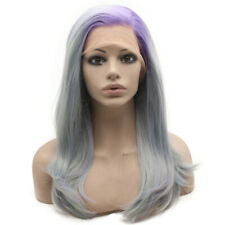Shoulder Length Side Part Synthetic Lace Front Purple Roots Light Blue Wig