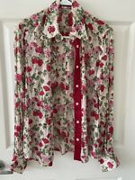 Gorgeous Dolce& Gabbana floral blouse long sleeve cuffs sheer brown green  Sz42