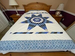 Machine Pieced Star patchwork quilt top one of kind