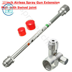 Airless Paint Spray Gun 10 inch Extension Pole With Swivel Joint Adapter Tool