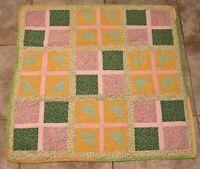 """Vintage Multi Color 38"""" x 38"""" Handmade Granny American Quilt Blanket Estate Find"""