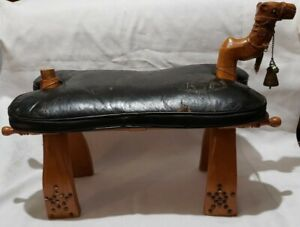 Antique Wood Camel Bench Foot Stool Ottoman Leather Saddle MCM EGYPTIAN REVIVAL
