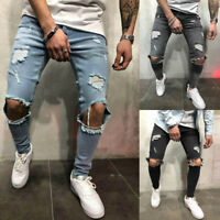 Mens Skinny Stretch Ripped Denim Jeans Pants Casual Slim Long Trousers Bottoms