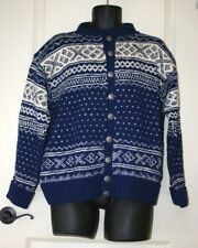 Handknit in Norway Wool Sweater Blue White Metal Buttons