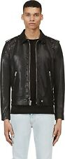 SAINT LAURENT PARIS 6400$ New Black Studded Riveted Leather Runway Biker Jacket