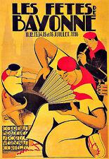 ART DECO Les fêtes de Bayonne 1936 AD A3 Art Poster Print