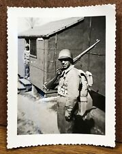 Military Man Backpack Rifle Helmet Army Vintage Photograph Snapshot Pic