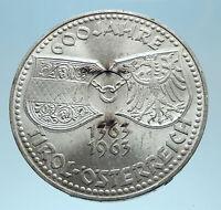 1963 AUSTRIA Tyrol and Austrian Shields Genuine Silver 50 Shilling Coin i77814