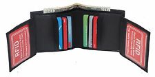RFID Mens Bifold Wallet Double ID Large Hipster Cowhide Credit Card Black