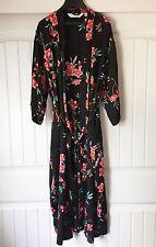 VICTORIA'S SECRET 100% Silk Kimono Robe, Black w Pink Flowers. Full length. EUC