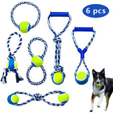 6pcs Pet Chew Rope Toys Dog Cotton Spiral Rope Clean Teeth Bite Braided Ball Toy