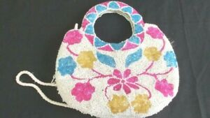 heavy beaded purse pink blue flowers fringe shoulder strap 5 x 10 small