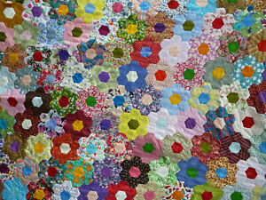 Handstitched Hexagons Patchwork Quilt Top - unfinished project. 100% cottons.