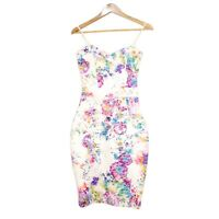 Lipsy London Womens Rainbow Floral Lace Bodycon Cocktail Dress Size UK8 / US4