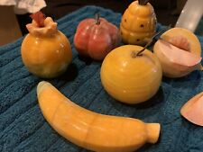 Vintage Italian Alabaster Stone Marble Fruit Italy 6 pieces Hand Carved
