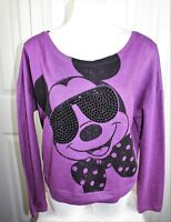 Womens  Disney Mickey Mouse w/ sequin sunglasses cropped sweatshirt top sz Large