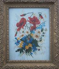Tableau Jetée des fleurs des champs et abeille signé 1895 + cadre