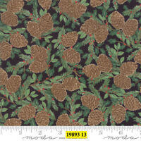 Christmas MODA Holiday Lodge 100% cotton fabric by the yard Pine Cone Charcoal