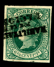 Spanish PHILIPPINES 1868 Q. ISABELLA II  6²⁄₈c green INVERTED SURCH. Sc# 36 mint