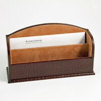 "DESK ACCESSORIES - ""GREENWICH"" BROWN ""CROCO"" LEATHER LETTER HOLDER - LETTER RACK"