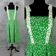 Vintage 1980s Preppy Sundress S Lili Richards Green Pink Tulips Shoulder Tie 34
