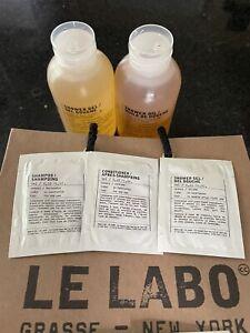 Le Labo 5 Samples Bath Gel, Shampoo, Conditioner Hinoki Mandarin Basil