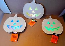"Halloween 7"" x 7"" LED Lighted Pumpkin Plaque Wood Craft 3ea Creatology 69Q"