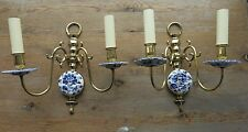 Gorgeous Pair of Delftware Wall Lights