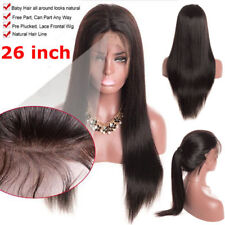 """Women Black Long Straight Lace Front Full Wig Human Hair Wigs With Baby Hair 26"""""""