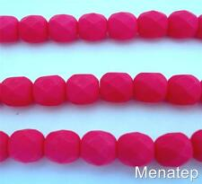 25 6mm Czech Glass Firepolish Beads: Neon - Pink